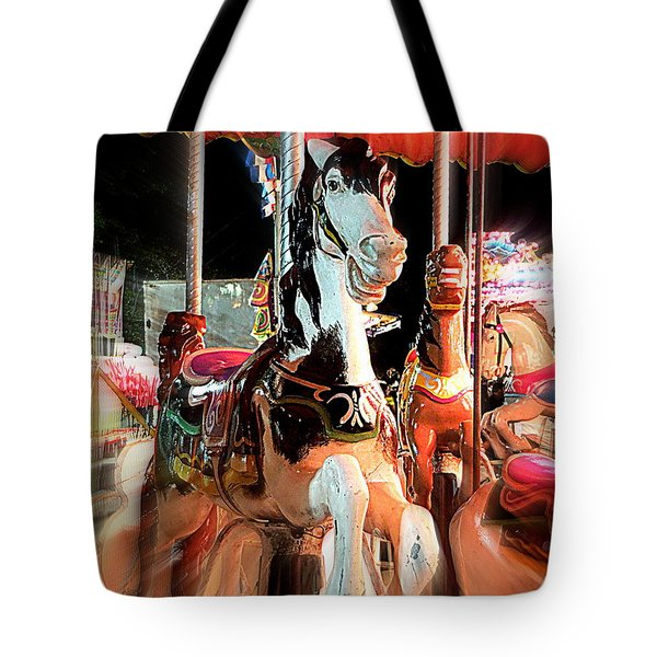 Tote Bag featuring the photograph Carousel Horses by Renee Trenholm