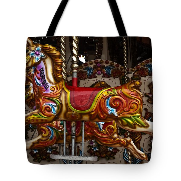 Tote Bag featuring the photograph Carousel Horses by Steve Purnell
