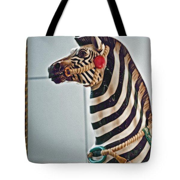 Carousel Zebra Tote Bag by Bill Owen