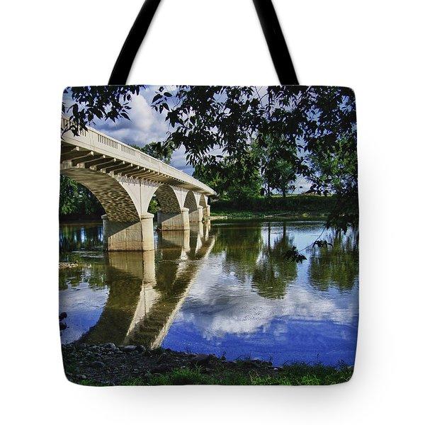 Carrollton Bridge Over The Wabash Tote Bag by Jim Finch