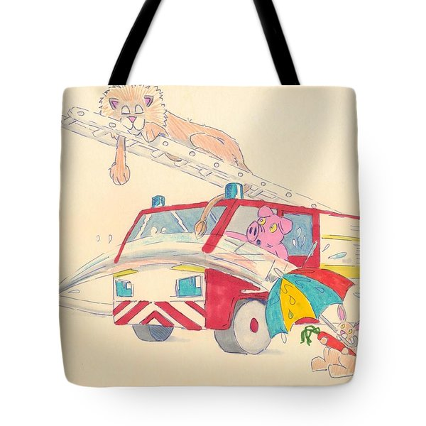 Cartoon Fire Engine And Animals Tote Bag