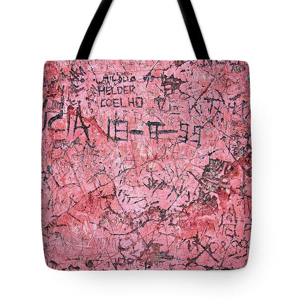 Carvings On Wall Tote Bag by Carlos Caetano