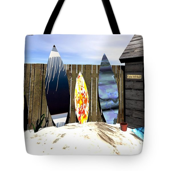 Tote Bag featuring the digital art Casa Del Surf by John Pangia