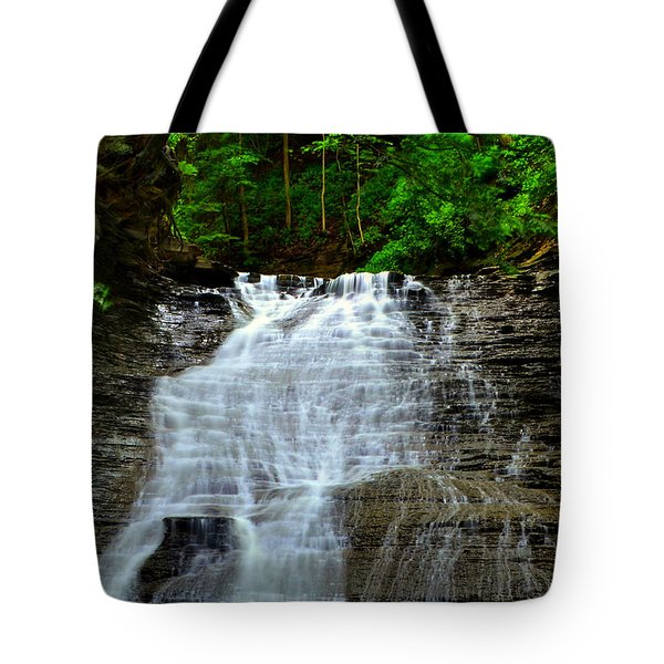 Cascading Falls Tote Bag by Frozen in Time Fine Art Photography