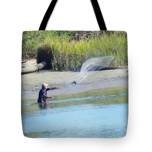 Casting For Shrimp At Hunting Island Tote Bag by Patricia Greer