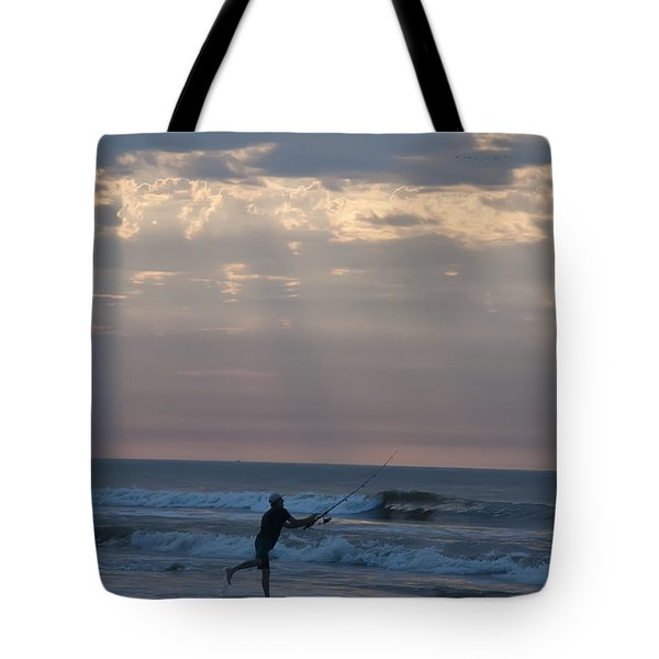 Casting Into The Surf Tote Bag by Bill Cannon