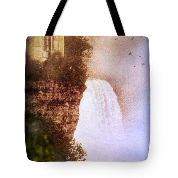 Castle At The Edge Of The Falls Tote Bag by Jill Battaglia