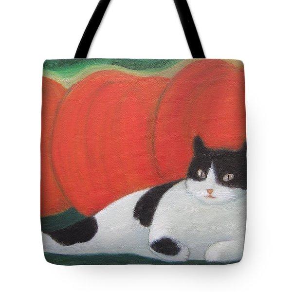Cat And Pumpkins  Tote Bag