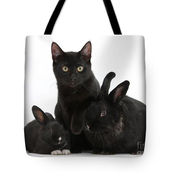 Cat And Rabbits Tote Bag by Mark Taylor