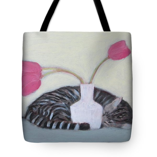 Cat And Tulips Tote Bag