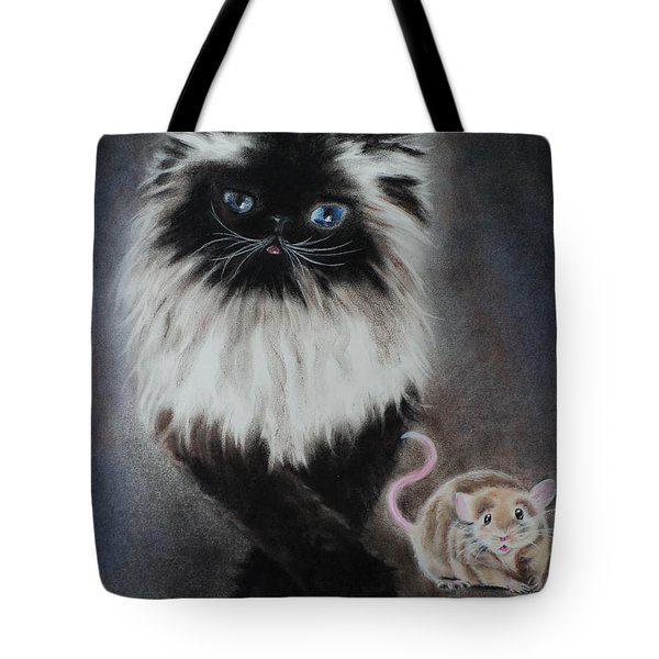 Cat N Mouse Say Cheeeeeeese Tote Bag by Carla Carson