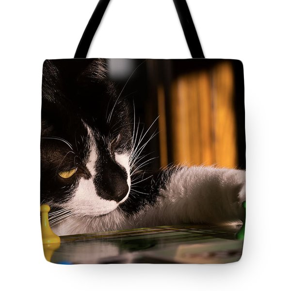 Cat Playing A Game Tote Bag