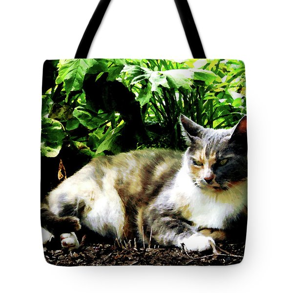 Cat Relaxing In Garden Tote Bag by Susan Savad