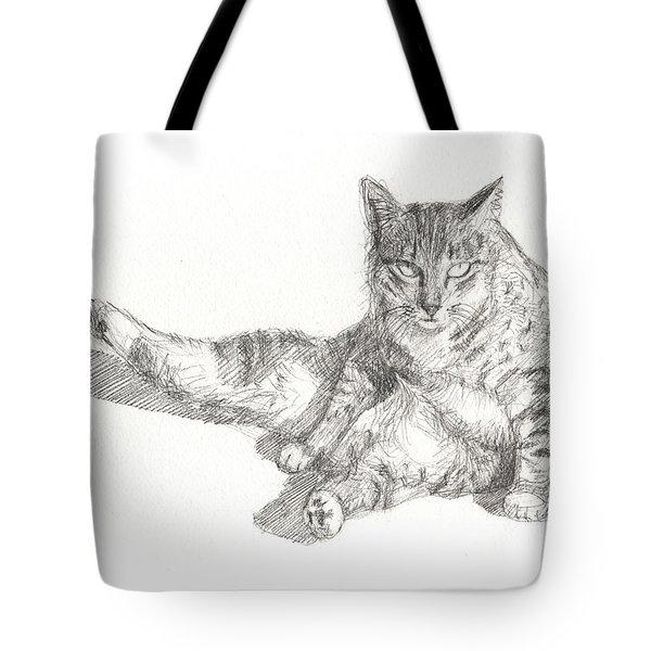 Cat Sitting Tote Bag