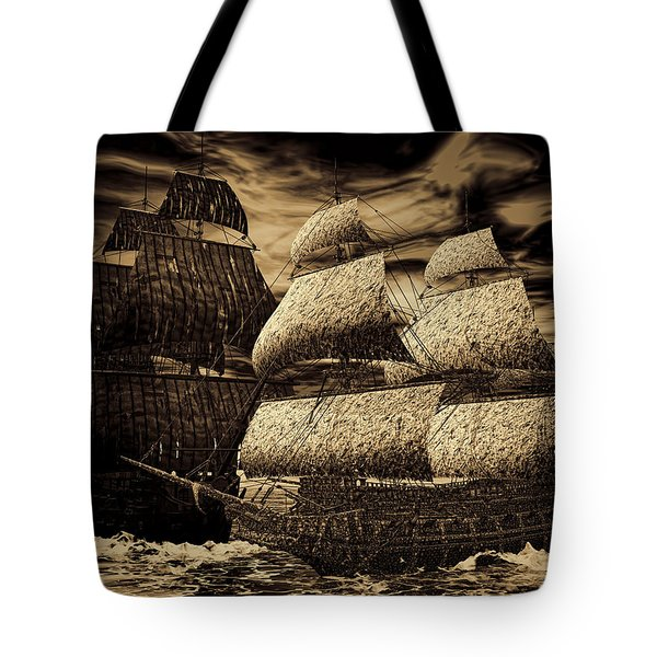Catastrophic Collision-sepia Tote Bag by Lourry Legarde