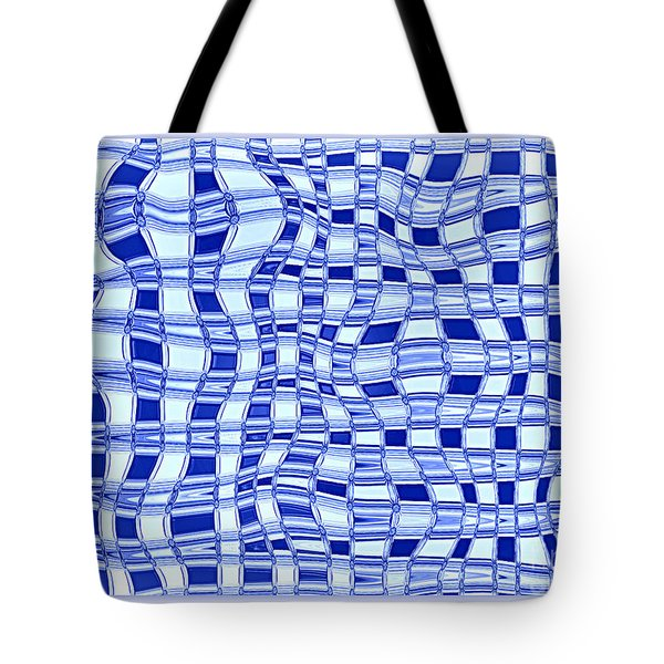 Catch A Wave - Blue Abstract Tote Bag by Carol Groenen