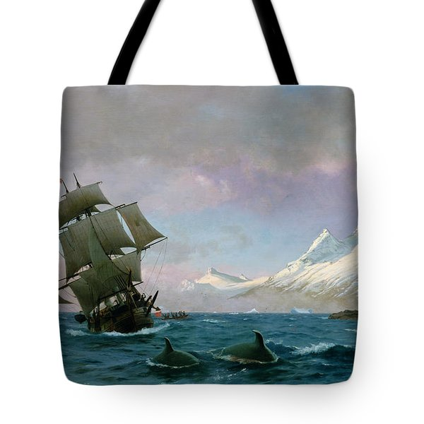 Catching Whales Tote Bag by J E Carl Rasmussen