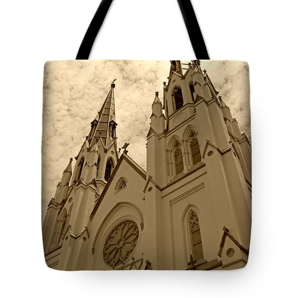Cathedral Of St John The Baptist In Sepia Tote Bag by Suzanne Gaff