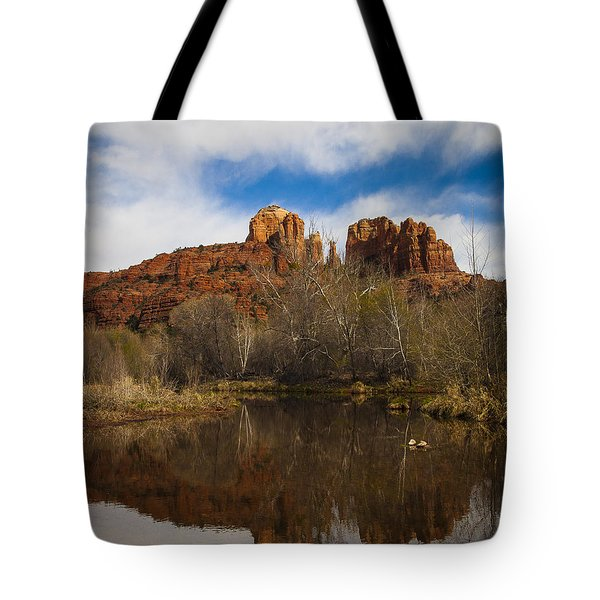 Cathedral Rock Reflections Portrait 2 Tote Bag by Darcy Michaelchuk