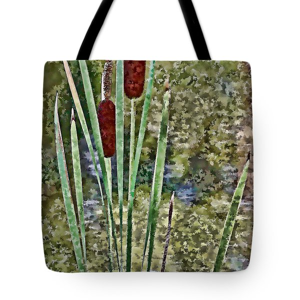 Tote Bag featuring the photograph Cattails Along The Pond by Don Schwartz
