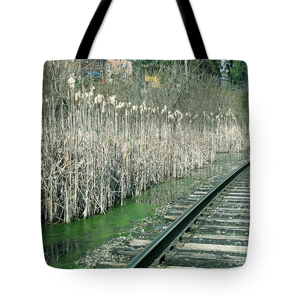 Cattails By The Tracks Tote Bag by Sandy McIntire