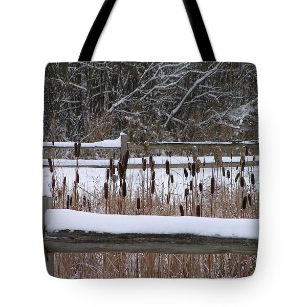 Tote Bag featuring the photograph Cattails In The Pond by Rand Swift