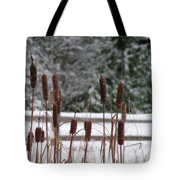Tote Bag featuring the photograph Cattails In Winter by Rand Swift