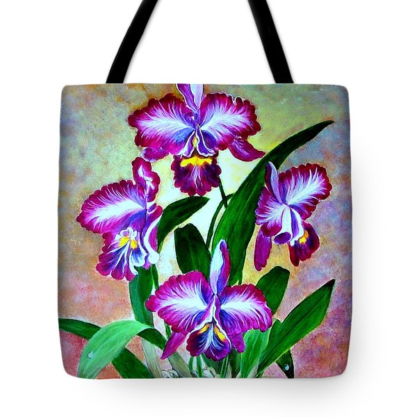 Tote Bag featuring the painting Cattleya Orchid by Fram Cama