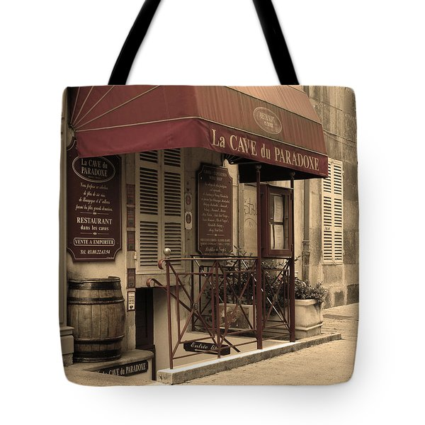Cave Du Paradoxe Wine Shop In Beaune France Tote Bag by Greg Matchick