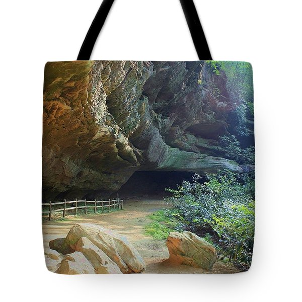 Tote Bag featuring the photograph Cave Entrance by Myrna Bradshaw