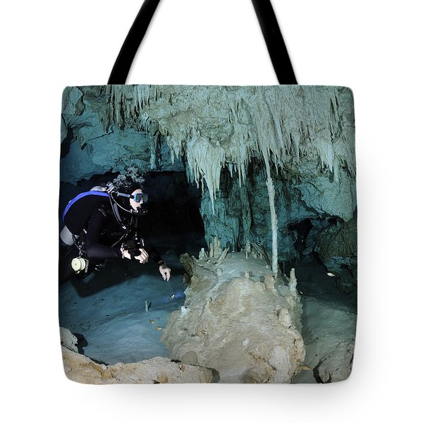 Cavern Diver In Dos Ojos Cenote System Tote Bag by Karen Doody