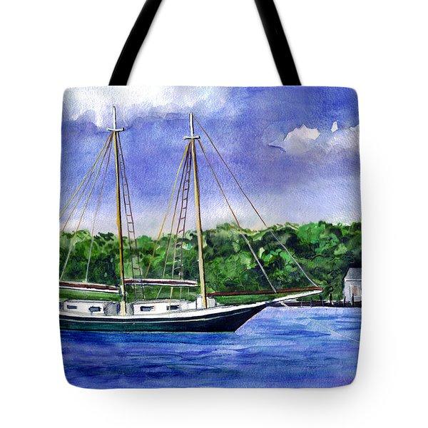 Tote Bag featuring the painting Cedar Beach Schooner by Clara Sue Beym