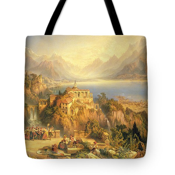 Celebrating The Grape Harvest Lake Orta North Italy Tote Bag by John Bell