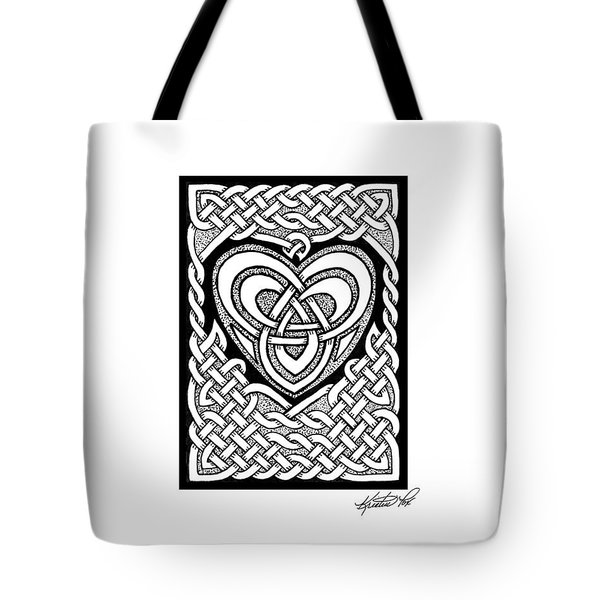 Celtic Knotwork Heart Tote Bag by Kristen Fox