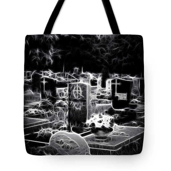 Cemetary At Night Tote Bag by Ellen Heaverlo