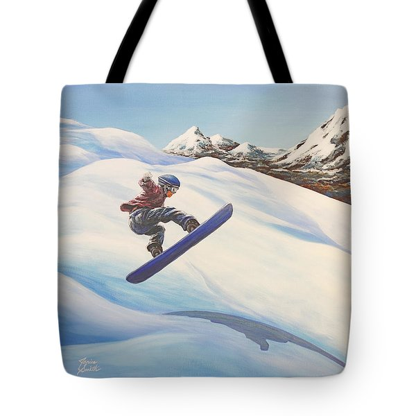 Central Oregon Snowboarding Tote Bag by Janice Smith