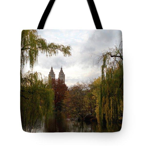 Tote Bag featuring the photograph Central Park Autumn by Lorraine Devon Wilke