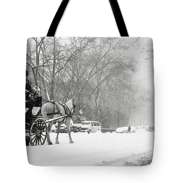 Central Park In Falling Snow Tote Bag by Axiom Photographic