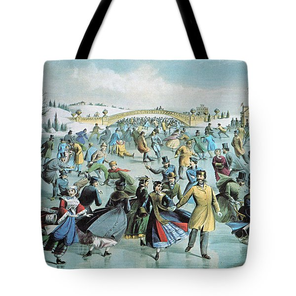 Central Park Skating Pond New York Tote Bag by Photo Researchers