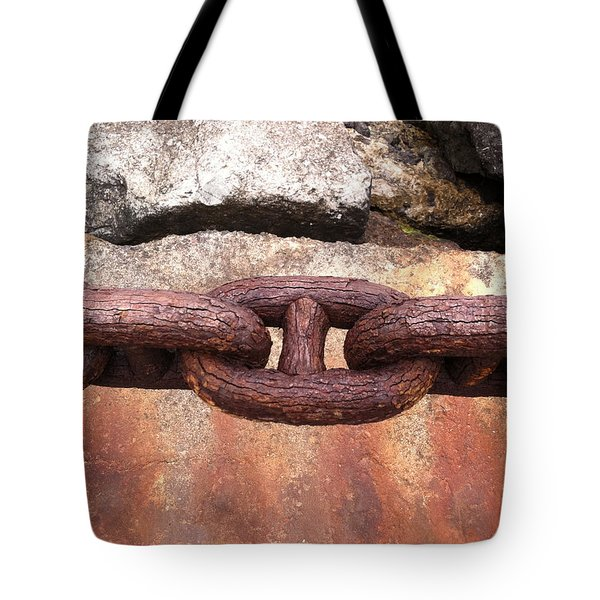 Tote Bag featuring the photograph Chain Under The Golden Gate Bridge by Bill Owen