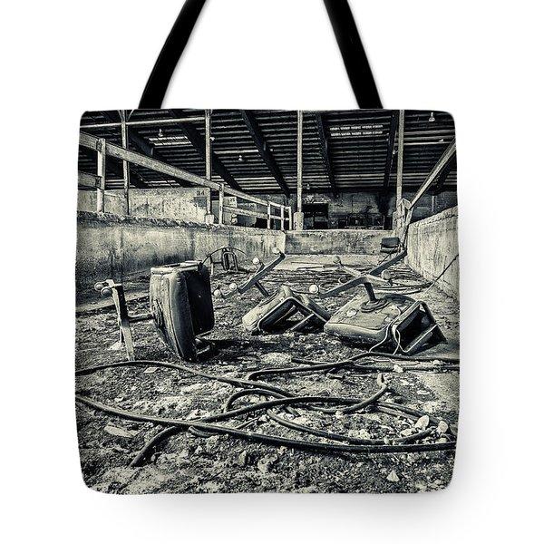 Chairs Undone Tote Bag by CJ Schmit