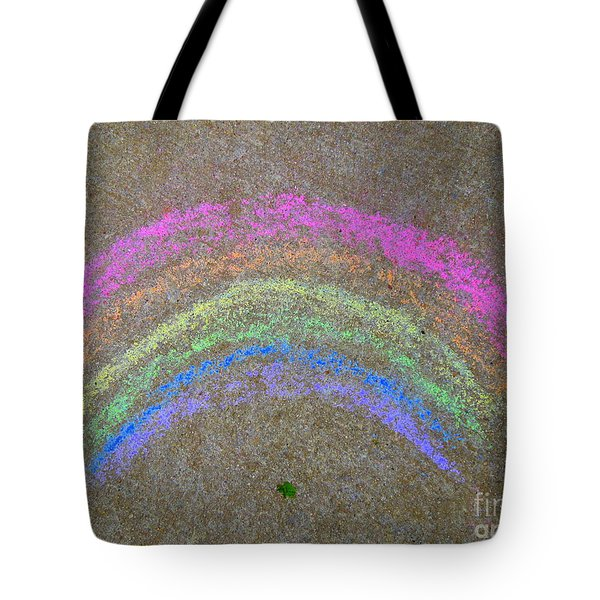 Tote Bag featuring the photograph Chalk Rainbow On Sidewalk by Renee Trenholm
