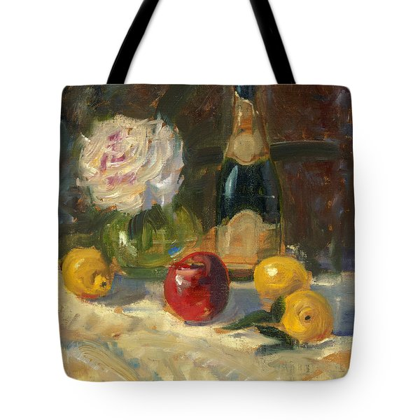 Tote Bag featuring the painting Champagne And Roses by Marlyn Boyd