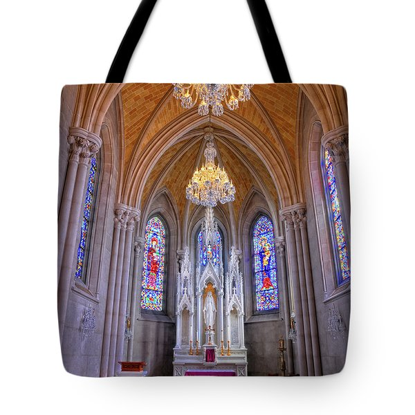 Chapel At Sacred Heart Cathedral Tote Bag by Dave Mills