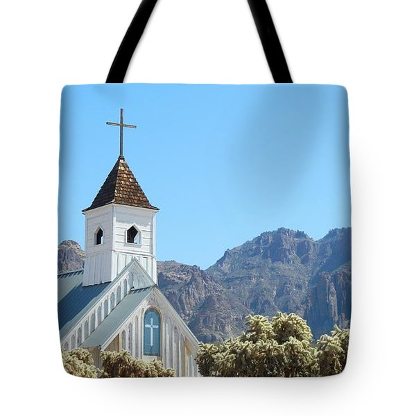 Tote Bag featuring the photograph Chapel In Superstitions by Penny Meyers
