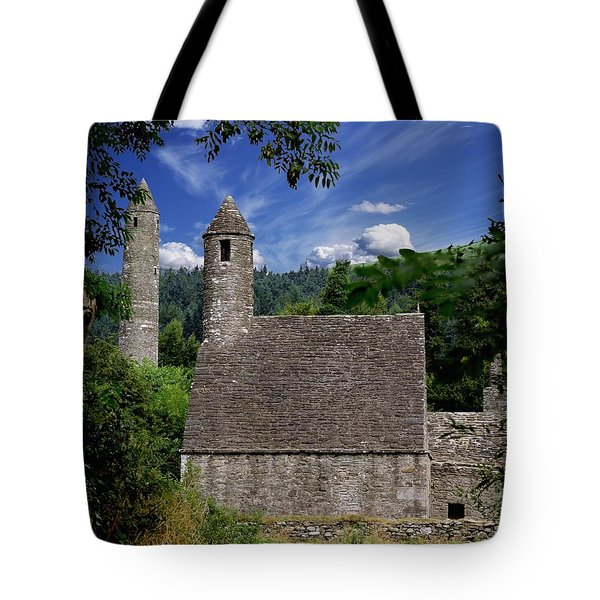 Chapel Of Saint Kevin At Glendalough Tote Bag by The Irish Image Collection
