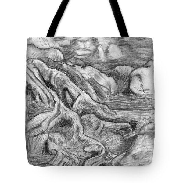 Charcoal Drawing Of Gnarled Pine Tree Roots In Swampy Area Tote Bag by Adam Long