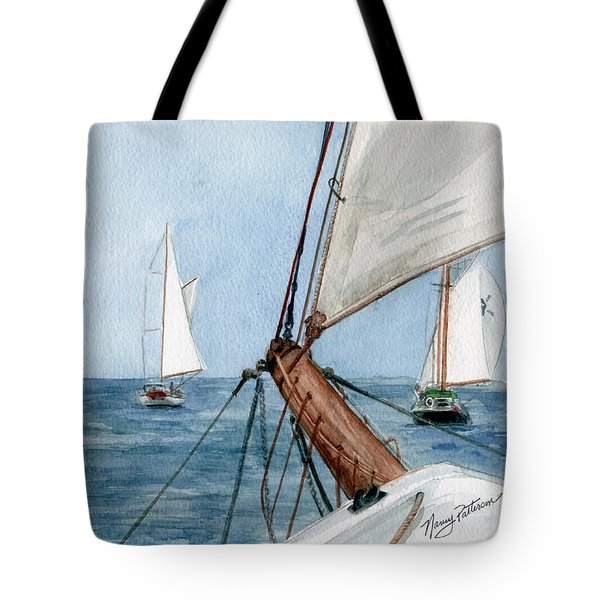 Tote Bag featuring the painting Chasing The North Wind by Nancy Patterson