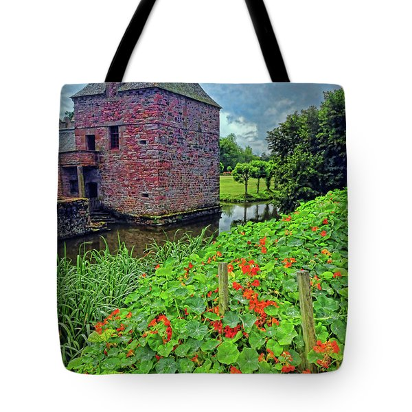 Tote Bag featuring the photograph Chateau Tower And Nasturtiums by Dave Mills