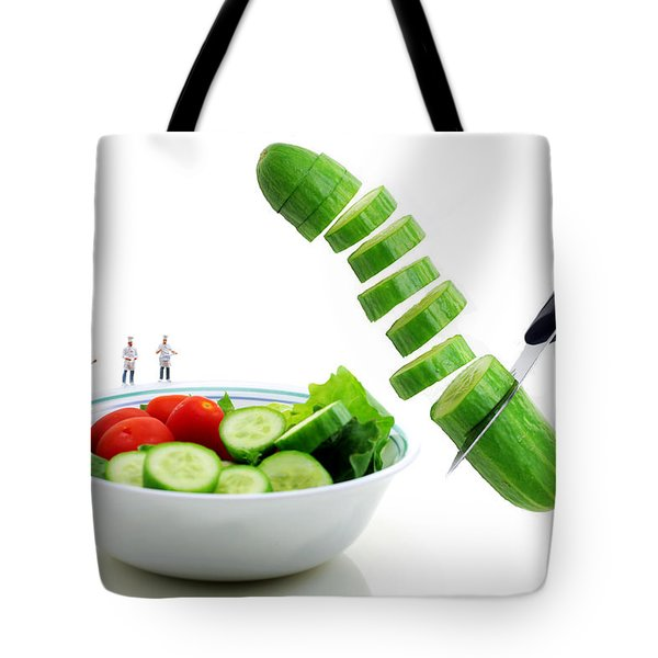 Chefs Making Salad Tote Bag by Paul Ge